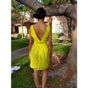 BCBG | neon green lace dress